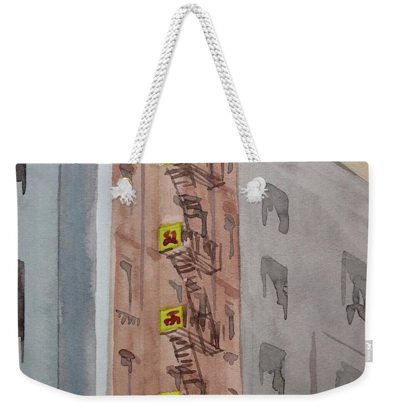 Nyc Art Weekender Tote Bag featuring the painting Chinatown Fire Escape by Bethany Lee