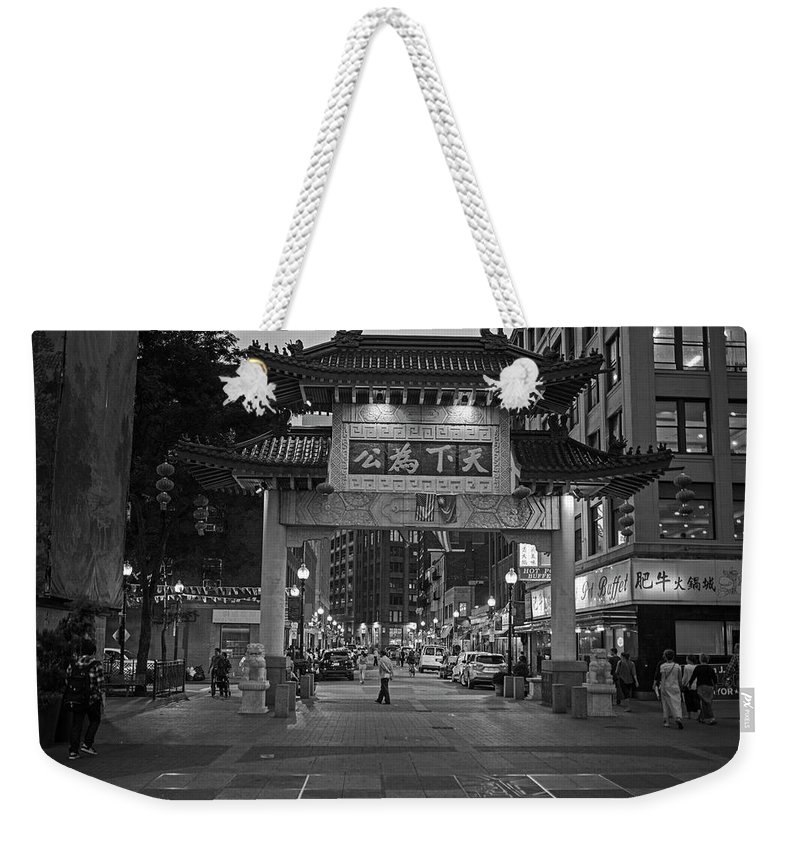 Boston Weekender Tote Bag featuring the photograph Chinatown Gate Boston Ma Black And White by Toby McGuire
