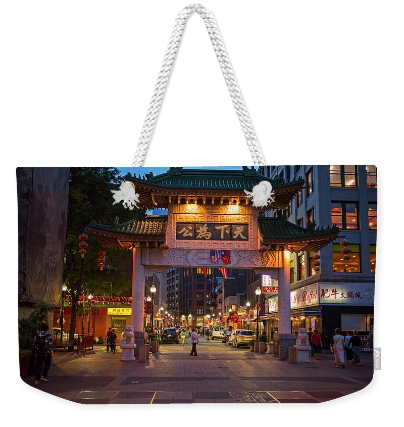 Boston Weekender Tote Bag featuring the photograph Chinatown Gate Boston Ma by Toby McGuire