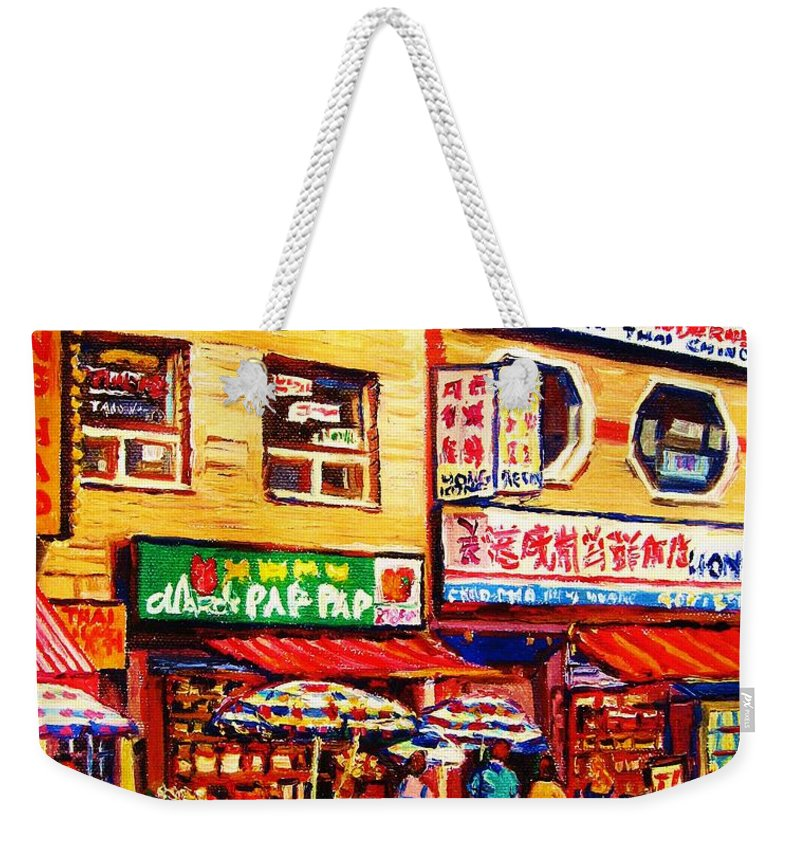 Montreal Weekender Tote Bag featuring the painting Chinatown Markets by Carole Spandau