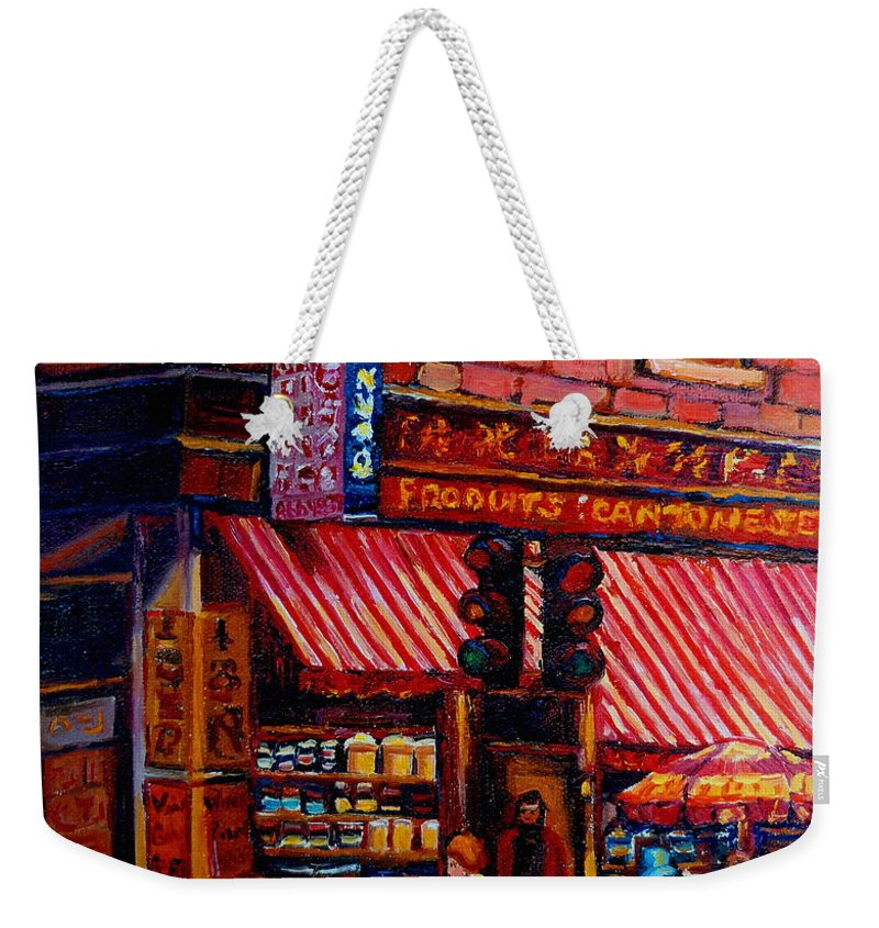 Chinatown Weekender Tote Bag featuring the painting Chinatown Montreal by Carole Spandau