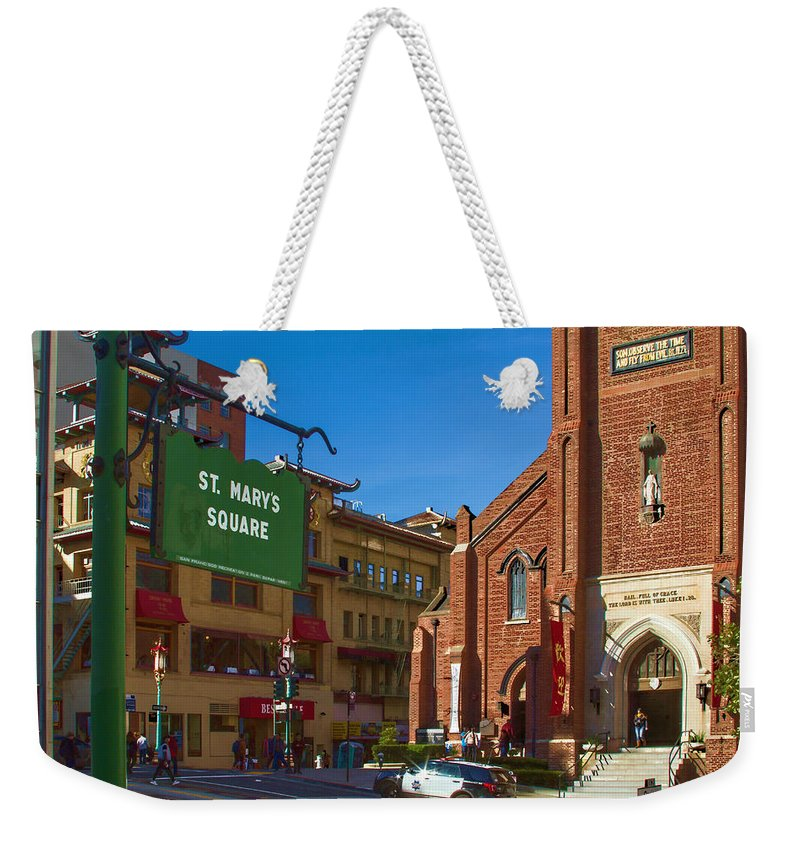 Bonnie Follett Weekender Tote Bag featuring the photograph Chinatown View From St. Mary's Square by Bonnie Follett