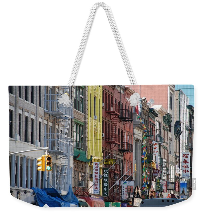 Architecture Weekender Tote Bag featuring the photograph Chinatown Walk Ups by Rob Hans