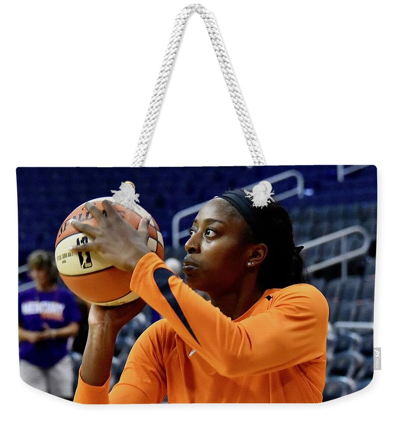 Chine Ogwumike Weekender Tote Bag featuring the photograph Chine Ogwumike by Devin Millington