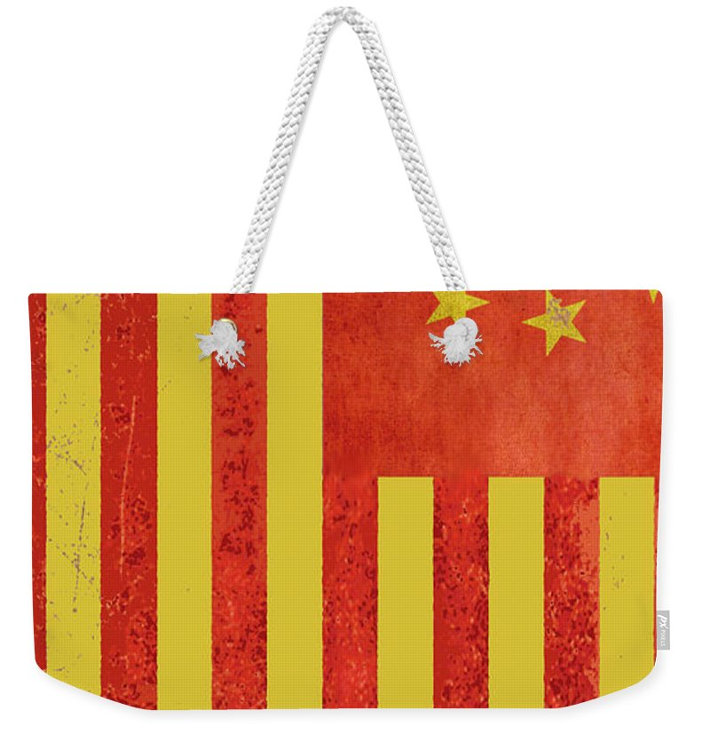 China Flag Weekender Tote Bag featuring the painting Chinese American Flag Vertical by Tony Rubino