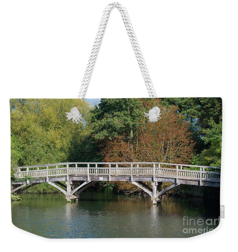 England Weekender Tote Bag featuring the photograph Chinese Bridge Over The River by F Helm
