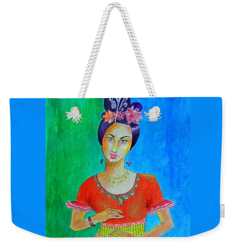 Stylized Weekender Tote Bag featuring the drawing Chinese Dancer -- The Original -- Portrait Of Asian Woman by Jayne Somogy