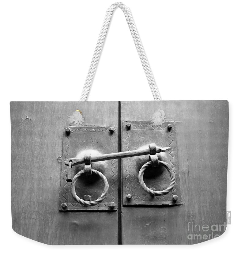 Door Weekender Tote Bag featuring the photograph Chinese Door And Lock - Black And White by Carol Groenen