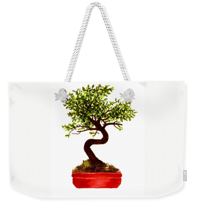 Tree Weekender Tote Bag featuring the painting Chinese Elm Bonsai Tree by Michael Vigliotti