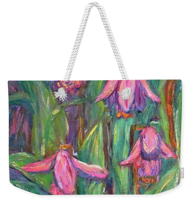 Floral Weekender Tote Bag featuring the painting Chinese Orchids by Kendall Kessler