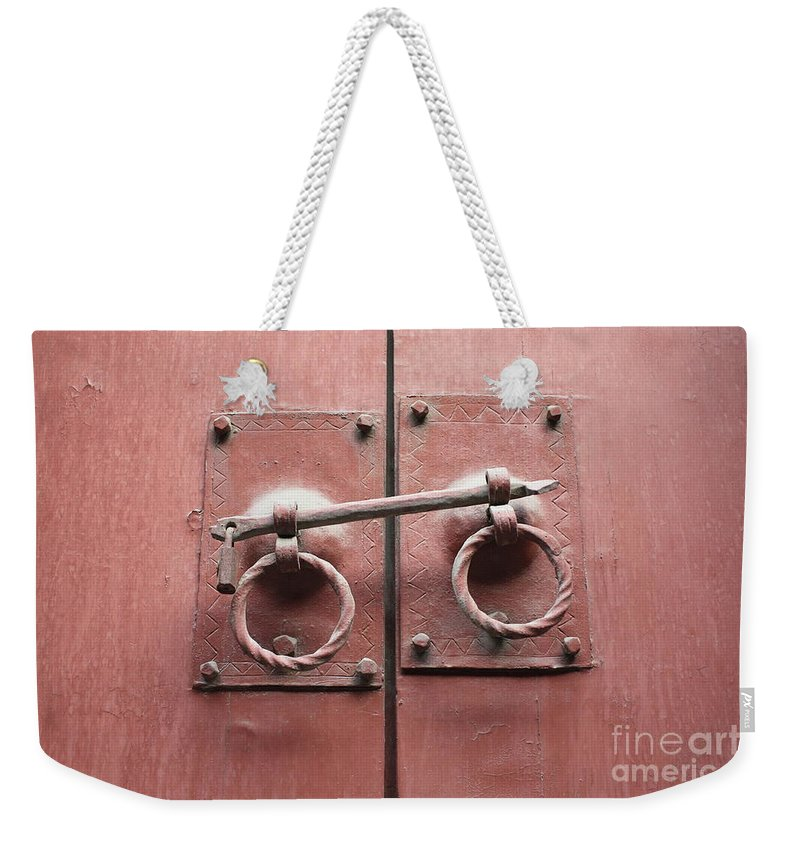 Door Weekender Tote Bag featuring the photograph Chinese Red Door With Lock by Carol Groenen