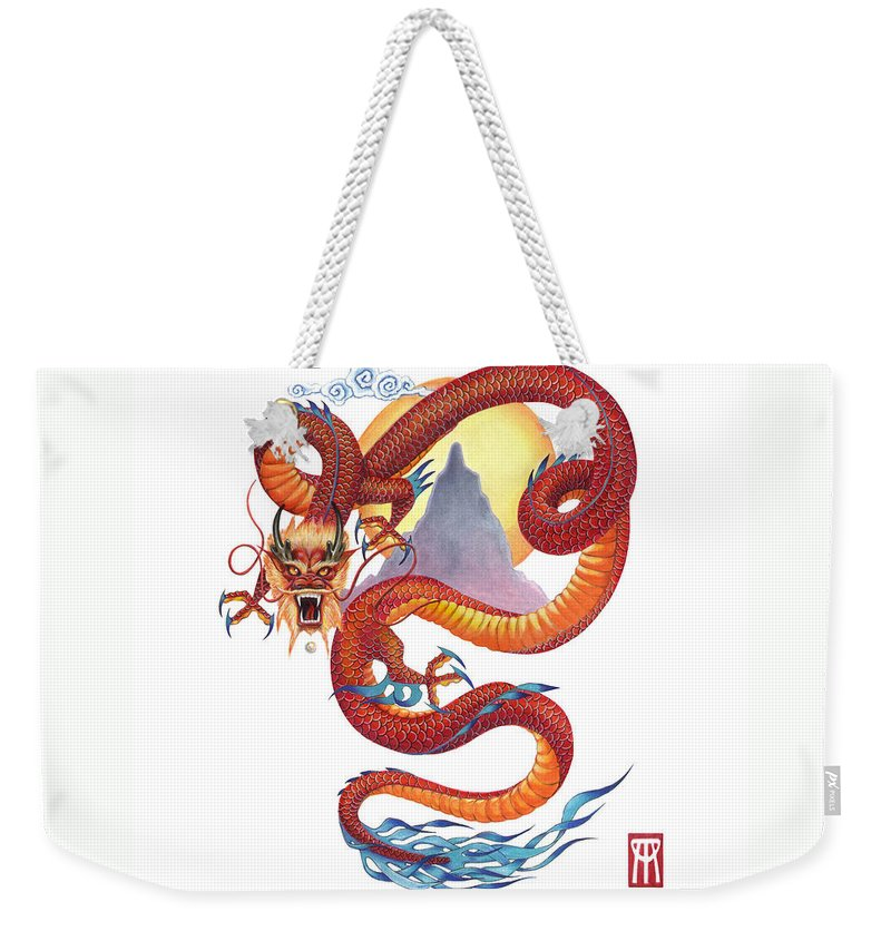 Dragon Weekender Tote Bag featuring the painting Chinese Red Dragon by Melissa A Benson