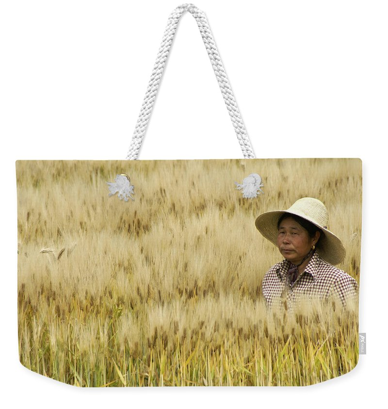 Asia Weekender Tote Bag featuring the photograph Chinese Rice Farmer by Michele Burgess