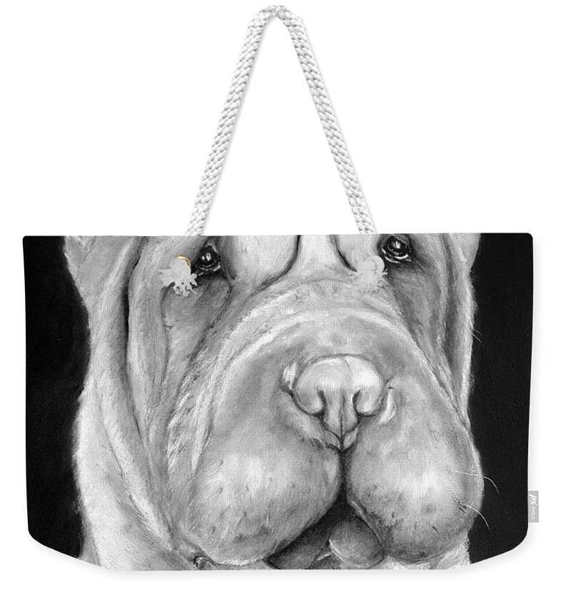 Sharpei Weekender Tote Bag featuring the painting Chinese Sharpei by Portraits By NC