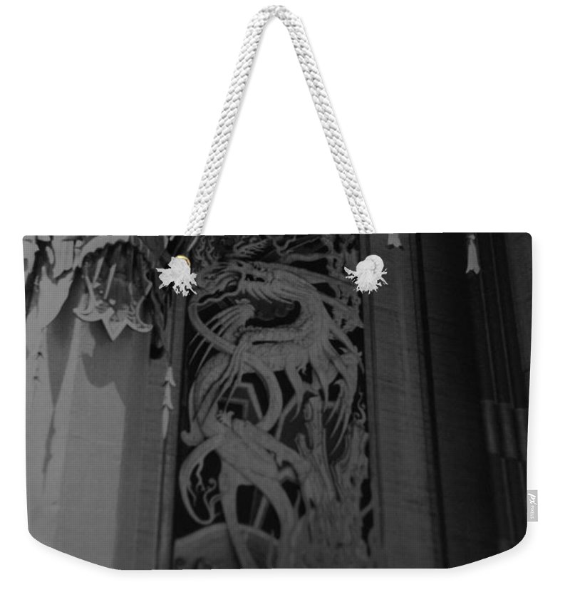 Black And White Weekender Tote Bag featuring the photograph Chinese Theater by Rob Hans