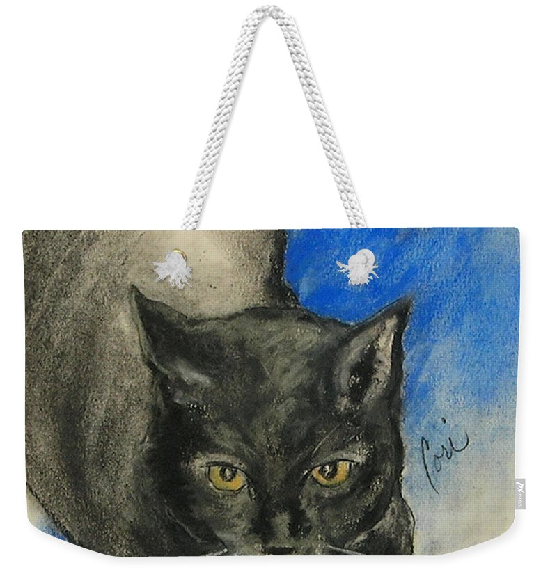 Cat Weekender Tote Bag featuring the drawing Chloe by Cori Solomon