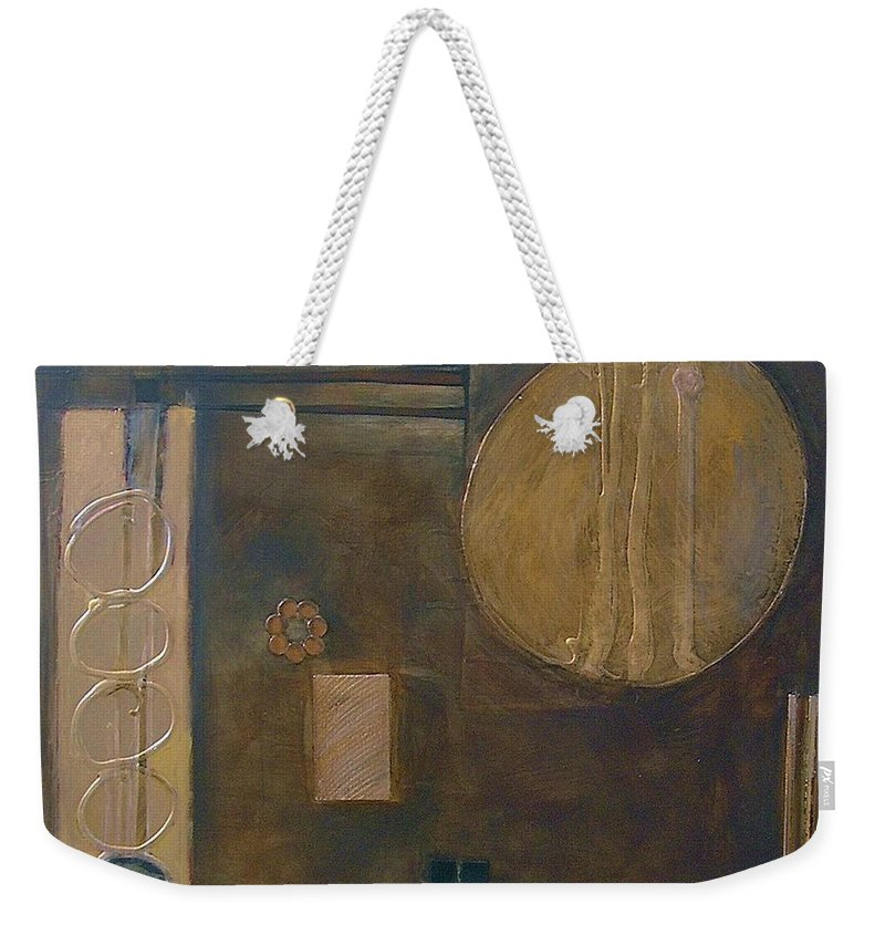 Abstract Weekender Tote Bag featuring the painting Chocolado by Marlene Burns
