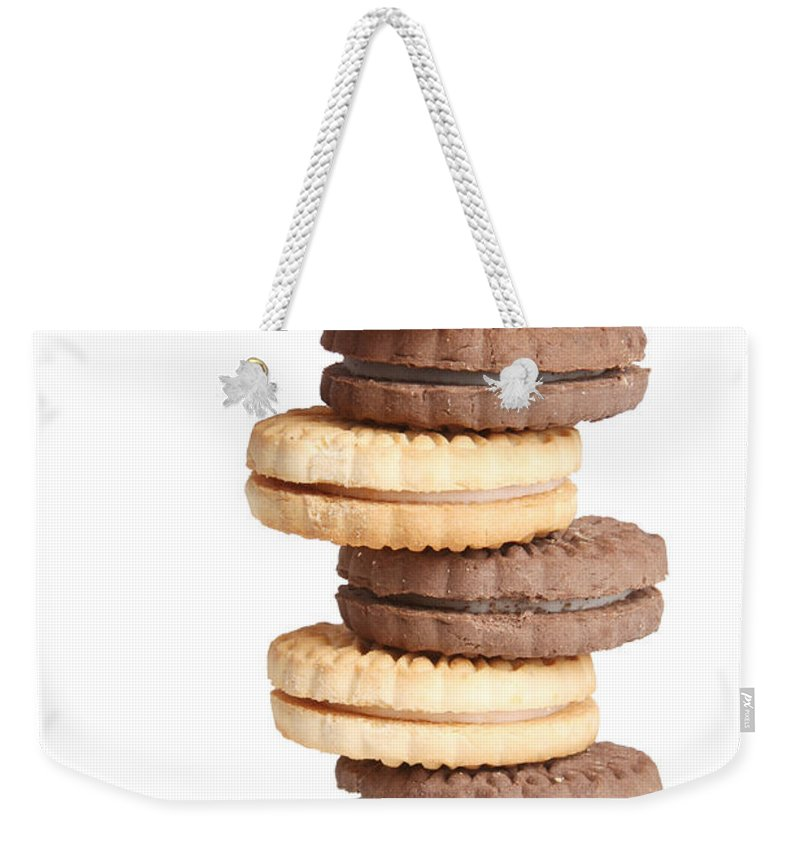 Cookies Weekender Tote Bag featuring the photograph Chocolate And Vanilla Creamed Filled Cookies by James BO Insogna