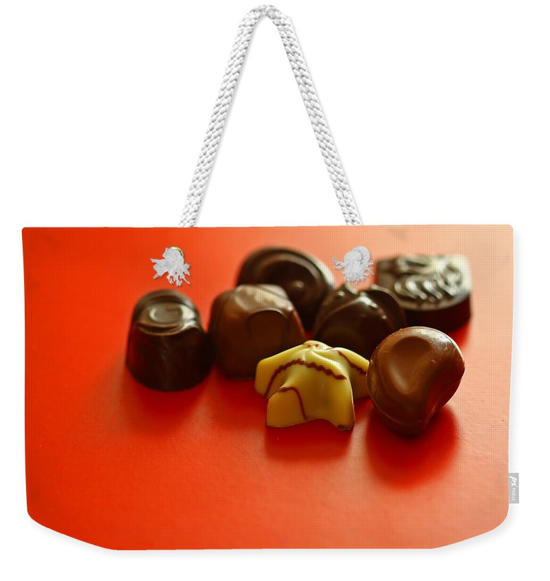 Still Life Weekender Tote Bag featuring the photograph Chocolate Delight by Evelina Kremsdorf