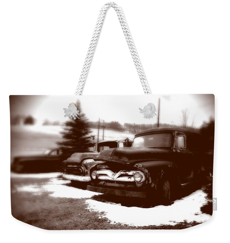 Old Cars Weekender Tote Bag featuring the photograph Chocolate Ghosts by Jean Macaluso