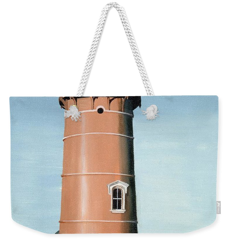 Lighthouse Weekender Tote Bag featuring the painting Chocolate Lighthouse by Mary Rogers