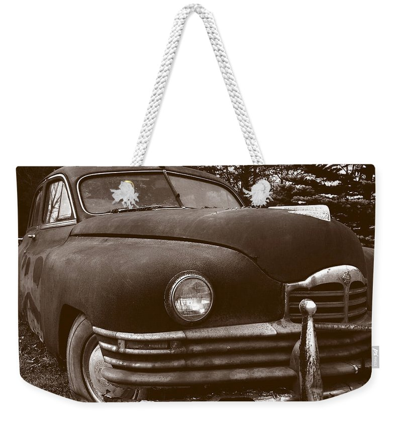 Old Car Weekender Tote Bag featuring the photograph Chocolate Moose by Jean Macaluso