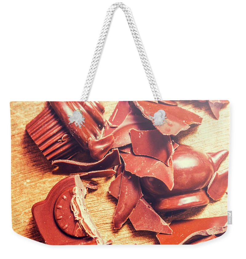 Kitchen Weekender Tote Bag featuring the photograph Chocolate Tableware Destruction by Jorgo Photography - Wall Art Gallery