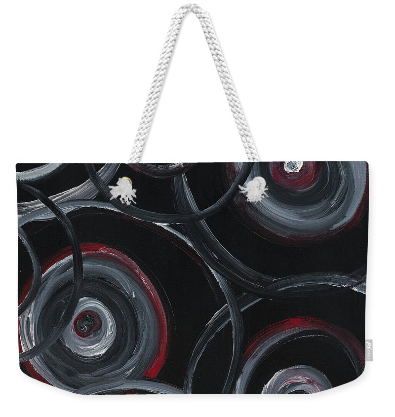 Circles Weekender Tote Bag featuring the painting Choices In Black by Nadine Rippelmeyer