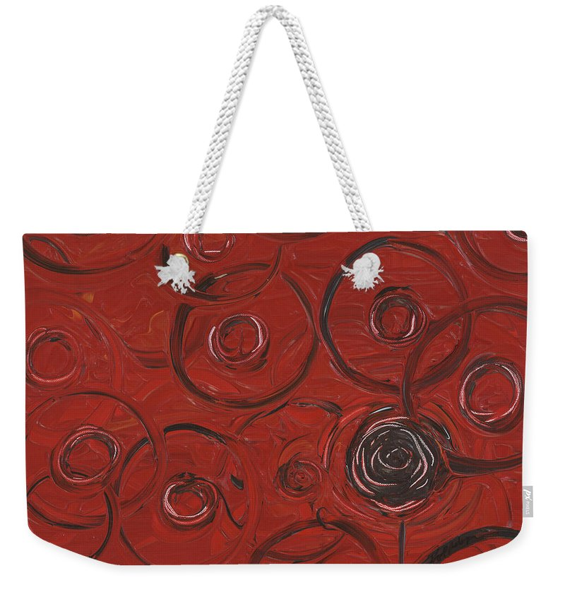 Red Weekender Tote Bag featuring the painting Choices In Red by Nadine Rippelmeyer