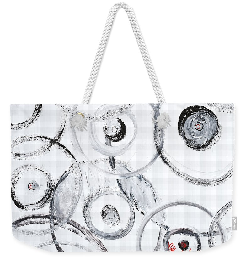 Circles Weekender Tote Bag featuring the painting Choices In White by Nadine Rippelmeyer