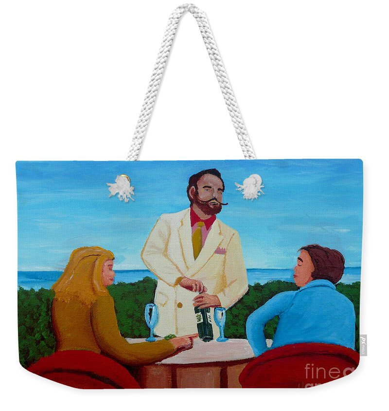 Wine Weekender Tote Bag featuring the painting Choosing The Wine by Anthony Dunphy