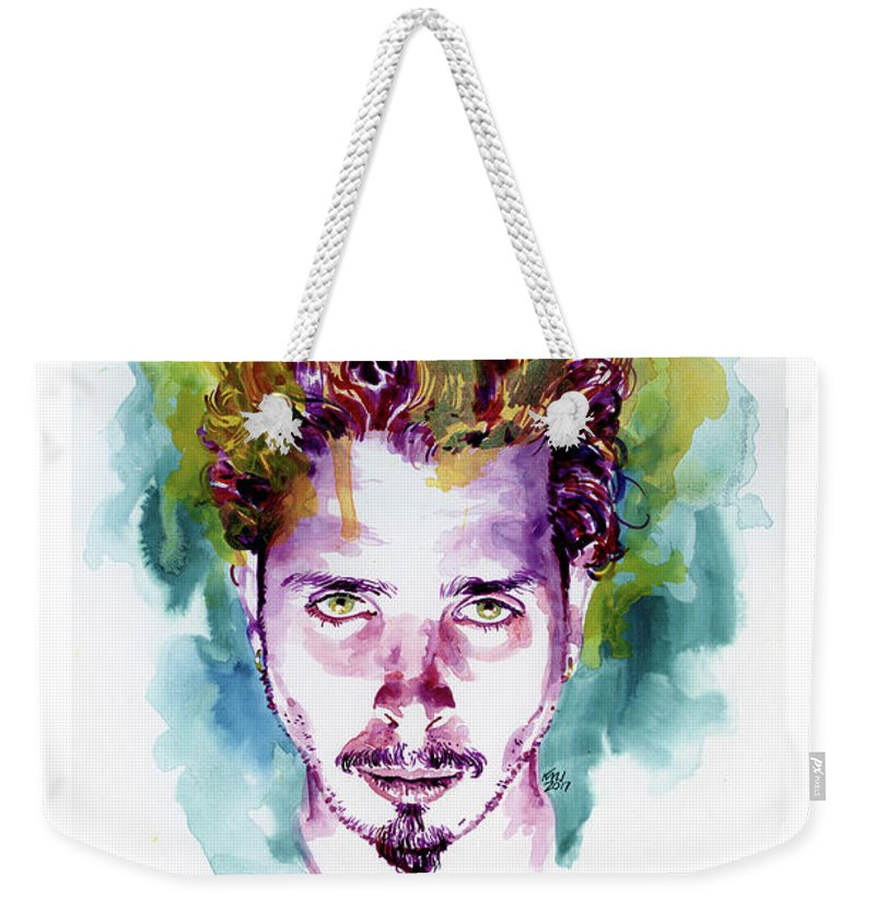 Soundgarden Weekender Tote Bag featuring the painting Chris Cornell 2 by Ken Meyer jr