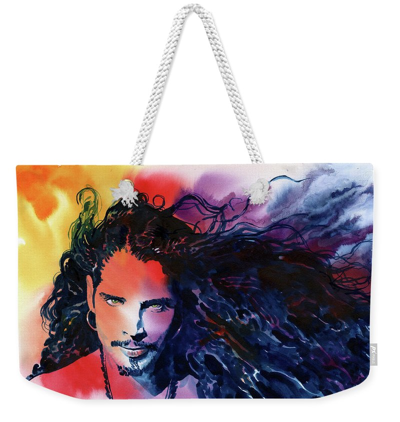 Soundgarden Weekender Tote Bag featuring the painting Chris Cornell by Ken Meyer jr