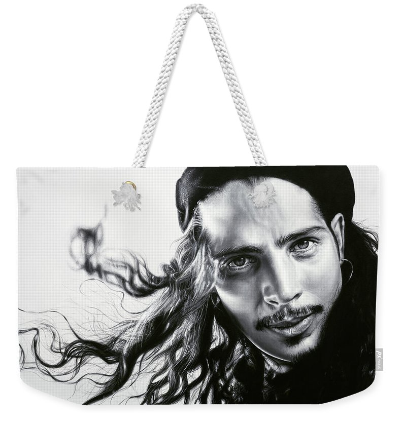 Chris Cornell Weekender Tote Bag featuring the painting Chris Cornell by Kim Crosland