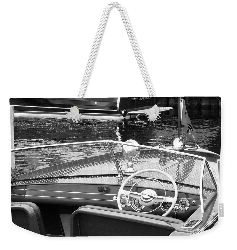 Chris Craft Weekender Tote Bag featuring the photograph Chris Craft Utility by Neil Zimmerman