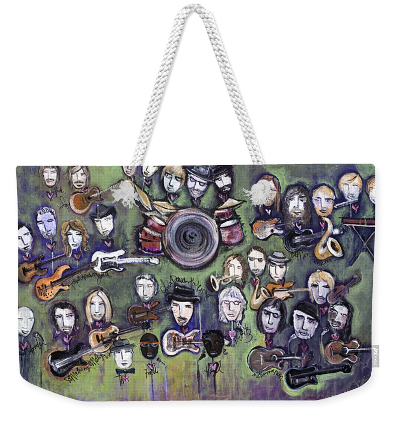 Chris Daniels Weekender Tote Bag featuring the painting Chris Daniels And Friends by Laurie Maves ART