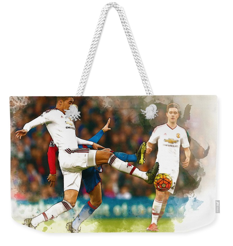 Uefa Chamipons League Weekender Tote Bag featuring the digital art Chris Smalling In Action by Don Kuing