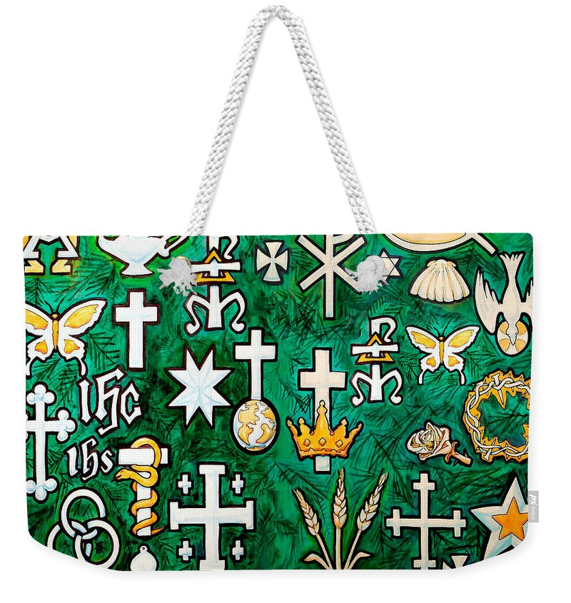 Chrismons Weekender Tote Bag featuring the greeting card Chrismons by Kevin Middleton