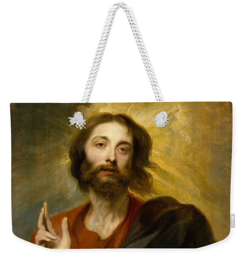 Anthony Weekender Tote Bag featuring the painting Christ As Salvator Mundi by Anthony van Dyck