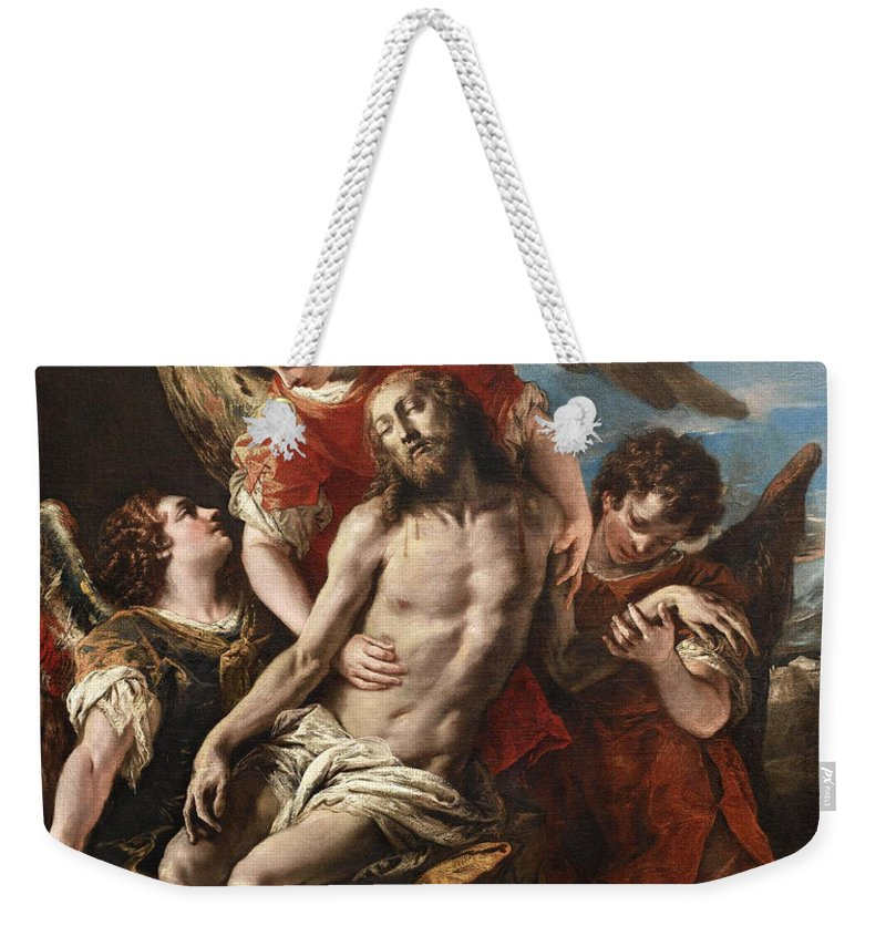 Sebastiano Ricci Weekender Tote Bag featuring the painting Christ Mourned By Three Angels by Sebastiano Ricci