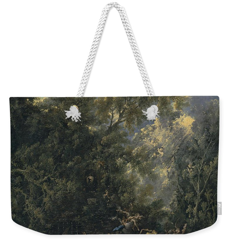 Alessandro Magnasco Weekender Tote Bag featuring the painting Christ Served By The Angels by Alessandro Magnasco