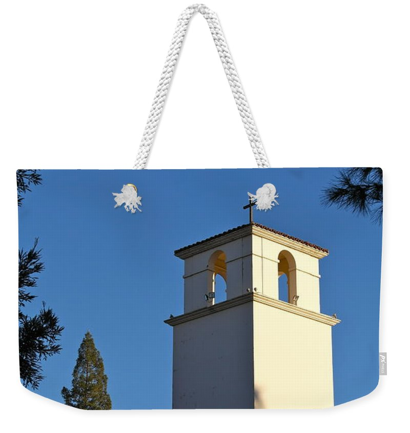 Christ The King Retreat Center Weekender Tote Bag featuring the photograph Christ The King Chapel Tower by Michele Myers