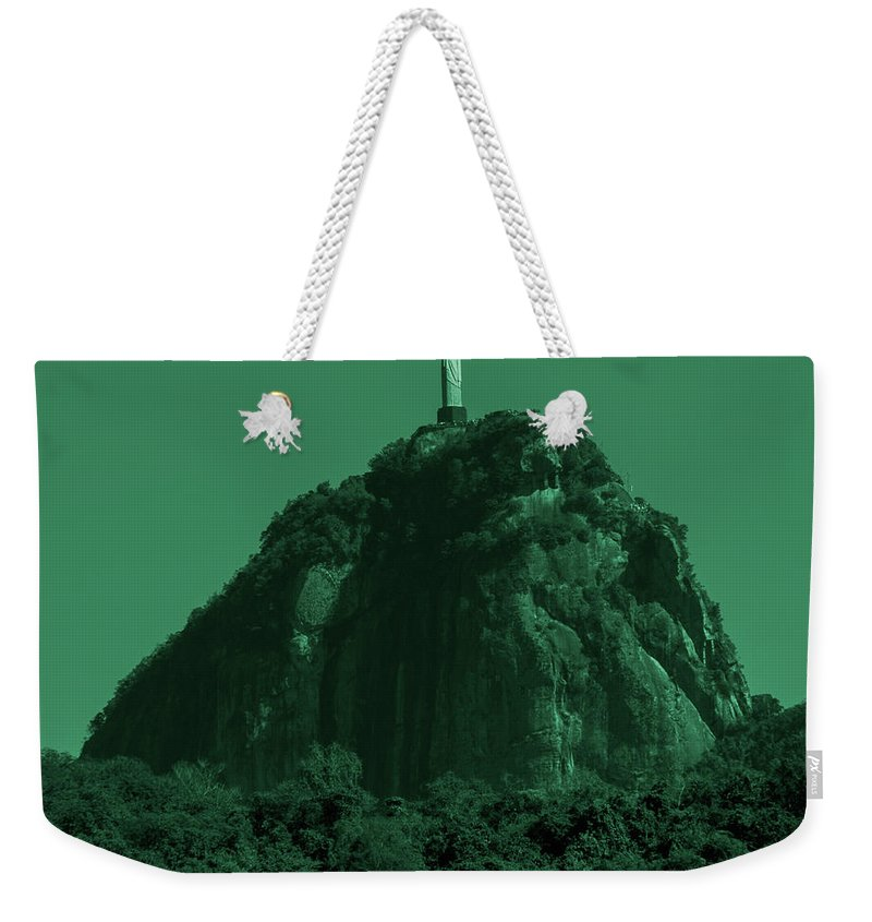 Interiors Weekender Tote Bag featuring the photograph Christ The Redeemer In Green Sky by Fabio Sola