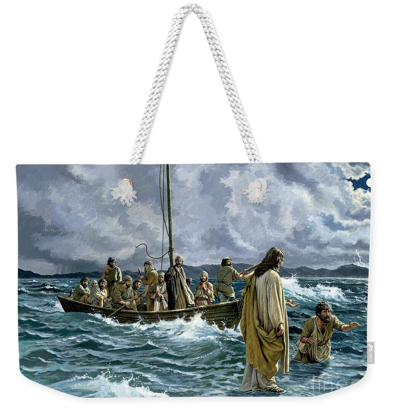 Christ Weekender Tote Bag featuring the painting Christ Walking On The Sea Of Galilee by Anonymous