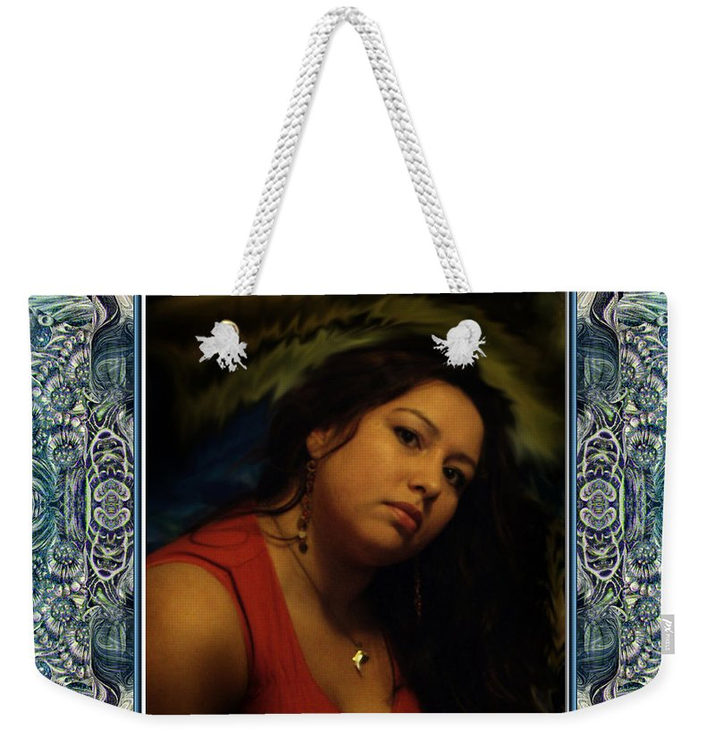 Portrait Glamour Fantasy Muse Weekender Tote Bag featuring the digital art Christan Cameo by Otto Rapp