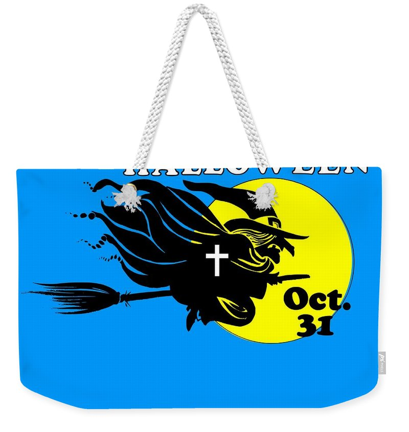 Religion Weekender Tote Bag featuring the digital art Christian Halloween Witch by Frederick Holiday