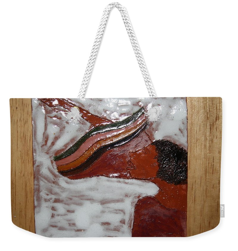Jesus Weekender Tote Bag featuring the ceramic art Christine - Tile by Gloria Ssali