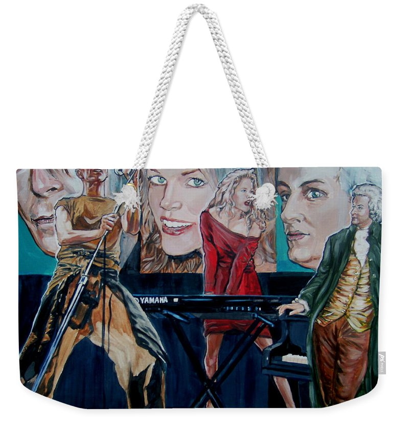 Christine Anderson Weekender Tote Bag featuring the painting Christine Anderson Concert Fantasy by Bryan Bustard
