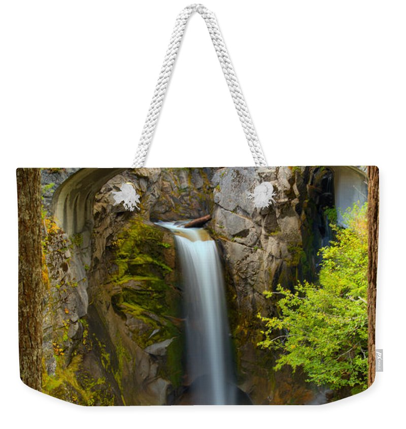 Christine Falls Weekender Tote Bag featuring the photograph Christine Falls Through The Trees by Adam Jewell