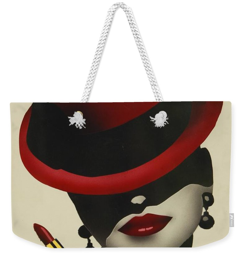 Christion Dior Red Hat Lady Weekender Tote Bag featuring the painting Christion Dior Red Hat Lady by Jacqueline Athmann